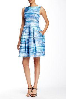 Theia Sleeveless Boatneck Printed Dress