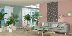 Salon style Miami avec flamants roses, ananas et cactus