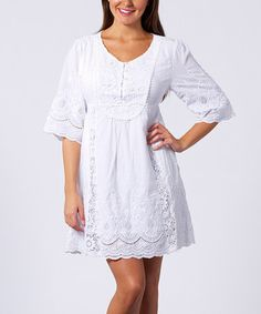 Take a look at this White Vintage Crocheted Tunic by Sand Studio on #zulily today!