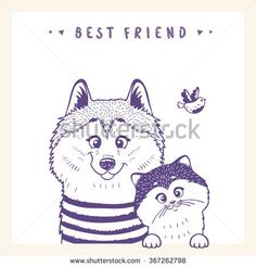 Stylish silhouettes cartoon cute dog husky and cat and bird. Vector illustration