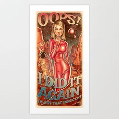 Oops!... I Did It Again - Britney Spears Art Print by Renato Cunha - $18.00