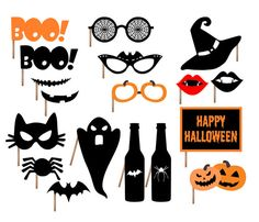Halloween Party Printable Photo Booth Props - Glasses, Hats, Fangs, Pumpkins, Potion, Mask, Spider, Bat, Ghost, Banner - INSTANT DOWNLOAD