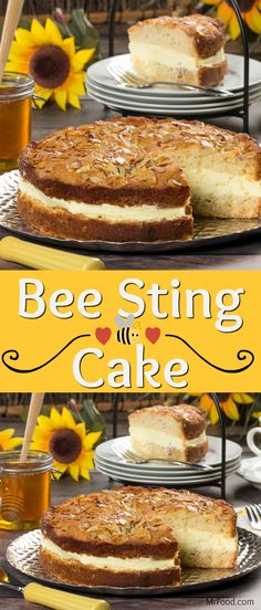 """This dessert is sure to create a lot of """"buzz"""" with your gang! Our German Bee Sting cake is based on the traditional German """"Bienenstich,"""" which is basically a honey-glazed cake with a layer of creamy vanilla custard. One bite and you'll understand what m Cupcake Recipes, Baking Recipes, Cupcake Cakes, Cake Cookies, Dessert Recipes, Cupcakes, Köstliche Desserts, Delicious Desserts, Bienenstich Cake"""