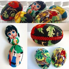 Easter eggs made of vintage needlepoints.