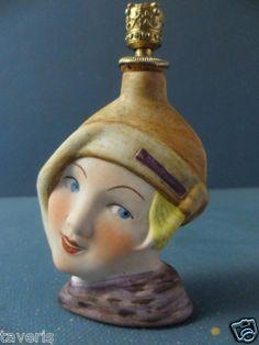 Art Deco 1925 Perfume Flask German Porcelain Lady Head Crown Top   eBay