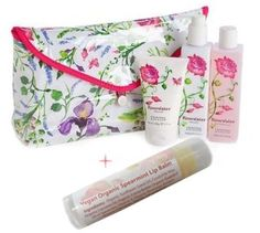 Crabtree & Evelyn Essentials 4 Piece Bath and Body Set in Rosewater with Deluxe Travel Case & Vegan Organic Lip Balm in Spearmint by Crabtree & Evelyn. $49.94. Set Includes: Rosewater -  8.5 oz. bath & shower gel, Rosewater - 8.3 oz. body lotion, Rosewater - 3.5 oz. body cream, Deluxe Travel Case. Includes Vegan Organic Lip Balm in Spearmint. Pamper yourself or give the ultimate in luxury gifts. Crabtree & Evelyn Essentials 4 Piece Bath and Body Set with Deluxe Tr...