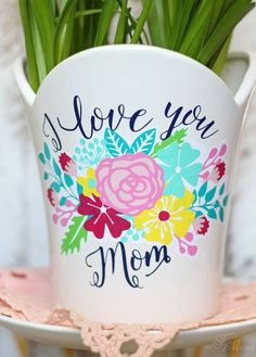 Mother's Day gift idea- Vinyl Plant Pot Decals- FREE Silhouette Cut Files