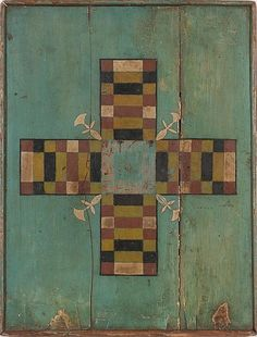 Painted and Decorated Game Board. American, possibly New England, late 19th/ early 20th century 16 3/4 by 21 7/8 in.  Provenance: Found in Weston, Vermont