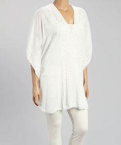Look what I found on #zulily! White Floral V-Neck Tunic - Plus #zulilyfinds