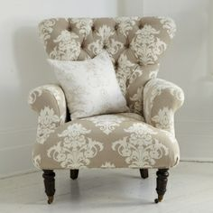 Button Back Cream Patterned Armchair