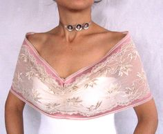 Ivory cream stretchy lace shoulder shrug handmade by mammamiaeme, $33.00