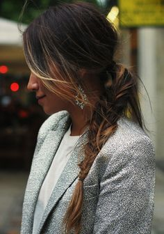 30 Inspiring Fishtail Braids // ombre braid with statement earrings & a print blazer #style #fashion #sincerelyjules