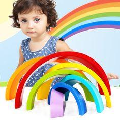 益智彩虹积木迷你版 五彩拱形积木 儿童婴儿木制叠叠高玩具