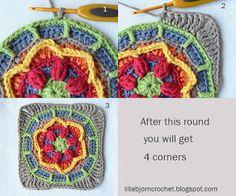 Circles of the Sun - CAL - Block 2 Circles of the Sun Mystery CAL 2015 - overlay crochet - Block 2 crochet pattern by LillaBjornCrochet Motif Mandala Crochet, Crochet Square Patterns, Crochet Circles, Crochet Blocks, Freeform Crochet, Crochet Squares, Crochet Stitches, Granny Squares, Granny Granny