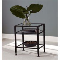 Southern Enterprises Metal Glass Top End Table in Black