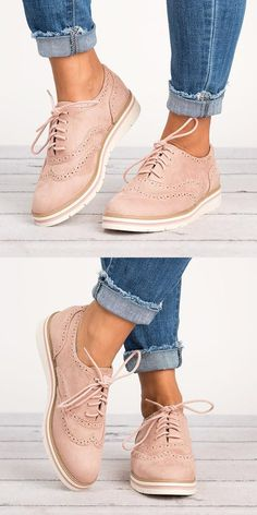 Women s Lace Up Perforated Oxfords Shoes Heels ec9f153e34b3a