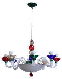 "A colorful murano chandelier. Chrome accents. The glass dome also lights up. Length of  chrome pole can be reduced to 32"" total length."