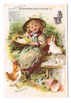 Trade Card New Home Sewing Machine Little Girl Rabbits Eggs Chicken