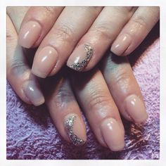Nude gels with silver glitter & diamonds