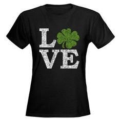 Great design inspiration for Silhouette Cameo or Cricut crafters! LOVE with a shamrock Womens Black T-Shirt for St. Patrick's Day #shirts