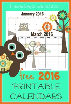 Totally FREE 2016 printable calendars! They are super cute!