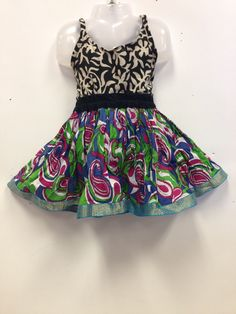 Rajasthani Print Skirt and Top - Blue, green and pink