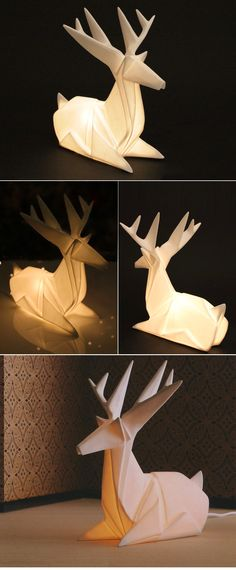 Inspired by Nature: Luminous Modern Origami Reindeer Table Lamp