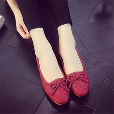 US $11.99 Kwan Women's Leather Ballet Flats Boat Shoes Loafers Moccasins Casual Women Red