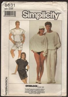 Simplicity 8631 Men's, Misses and Teen Boys Top and Pants or Shorts Sz S UNCUT - Sewing Patterns