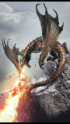 Young Brass Dragon Breath Wall vs Party of 3 Mountain Elder Scrolls Art lg Tiamat Dragon, Smaug Dragon, Skyrim Dragon, Fire Dragon, Dragon Rpg, Fantasy Pictures, Fantasy Images, Fantasy Artwork, Mythological Creatures
