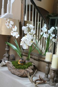 How to Make an Orchid in a Rustic Bowl Arrangement Orchid Flower Arrangements, Orchid Planters, Orchid Centerpieces, Orchid Pot, Orchids Garden, Ikebana, Rustic Bowls, Orchid Care, White Orchids