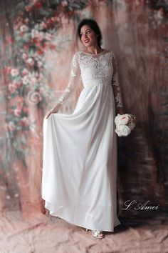 Affordable Fitted Long-sleeved Lace Bridal Wedding Dress par LAmei