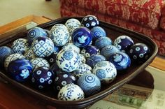 Ceramic blue and white China balls, need to keep an eye out for these for table