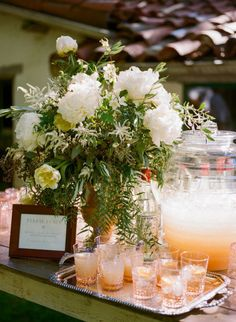 Cocktail Table with floral/spritzer