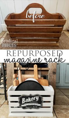 Repurposed Magazine Rack Kitchen Storage - Prodigal Pieces - - Want to add extra storage to your kitchen for cookie sheets and cutting boards? A repurposed magazine rack can solve your storage problem instantly. Refurbished Furniture, Repurposed Furniture, Furniture Makeover, Diy Furniture Repurpose, Recycling Furniture, Furniture Refinishing, Diy Kitchen Storage, Diy Storage, Extra Storage