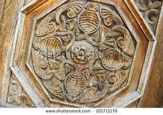 Vintage door detail in old town of Gyumri, Armenia. - stock photo