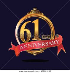 61 years anniversary golden logo with ring and soft red ribbon. anniversary logo for birthday, celebration, wedding, party