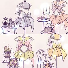 Sailor Scouts outfits and something to represent the character. Visual. Inspirational/Related. Internet.