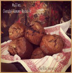 recette Muffins Chocolat-banane-noisette