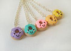 Cute Little Kawaii Polymer Clay Happy Face Doughnut Charm Necklace