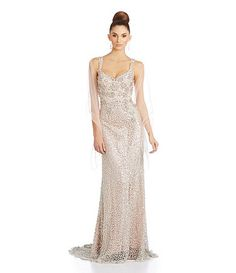 Mac Duggal Sequined Pearl-Beaded Lace Gown