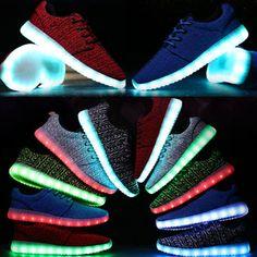 Women Men\u0027s Sneakers Luminous Shoes LED Light Lace Up Breathable Kids Shoes