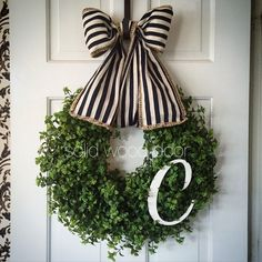 A personal favorite from my Etsy shop https://www.etsy.com/listing/266629269/initial-spring-faux-boxwood-wreath