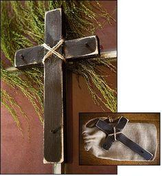 """Rustic Wood Wall Cross - 12""""H - Brown"""