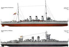 Crucero República (1931-1938) visto en 1933, llamado posteriormente Navarra (1938-1951) visto en 1938. Su primer nombre fue Reina Victoria Eugenia (1923-1931), España