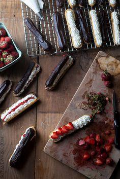 Strawberry Shortcake Éclairs | siftandwhisk.com
