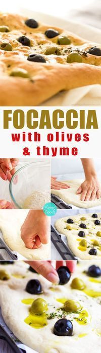 Focaccia Bread with Olives & Thyme - easy flat oven-baked Italian bread recipe, homemade delicious bread recipe, Italian food, baking Tasty Bread Recipe, Biscuit Recipe, Chefs, Pain Aux Olives, Italian Bread Recipes, Happy Foods, Oven Baked, Beignets, The Best