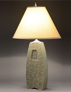 Lamp with Woven Inset by Jim and Shirl Parmentier: Ceramic Table Lamp available at www.artfulhome.com