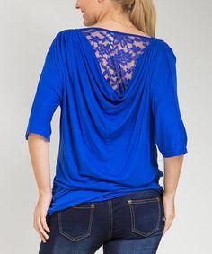 Blue Lace Drape Top - Plus