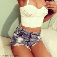Bustier top + denim shorts